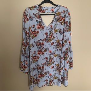 Mossimo Floral Print Shift Dress Bell Sleeves Med